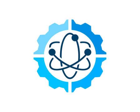 Mechanical gear with atom symbol inside