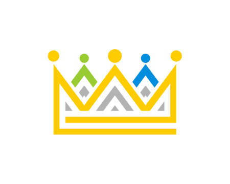 Abstract crown with people connection vector logo
