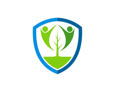 Protection shield with nature leaf and people inside