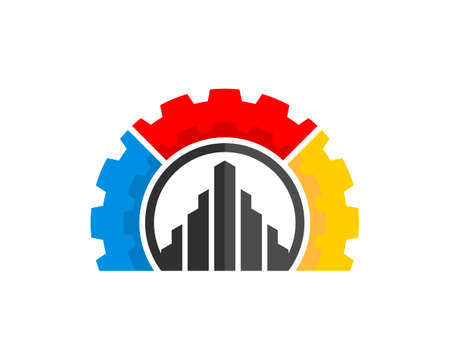 Rainbow mechanical gar with abstract building inside