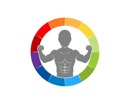 Man body fitness in the speedometer indicator logo