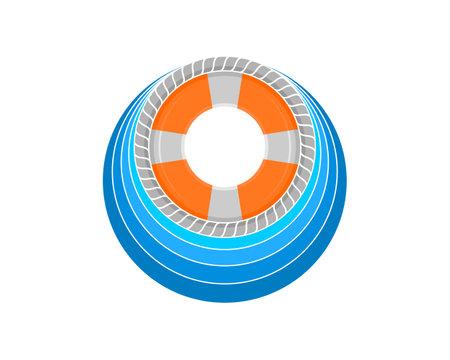 Life buoy on the blue wave logo