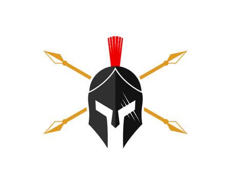 Cross trident spear with knight helmet inside Vector Illustratie