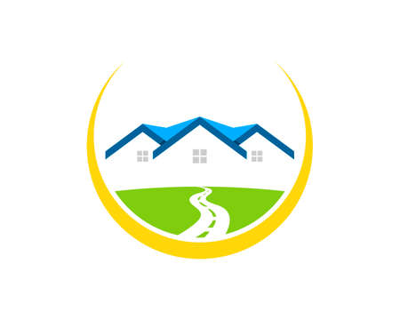 Circular swoosh with road to real estate house