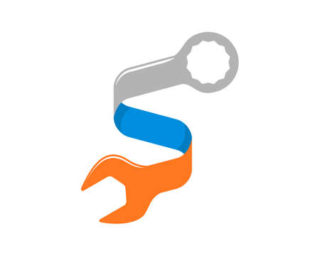 S Letter ribbon with wrench repair shape logo Logó