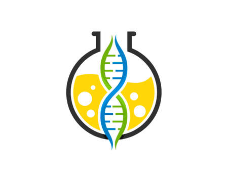 Simple bottle laboratory with DNA symbol inside
