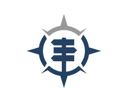 Wooden arrow direction in the compass logo Logos