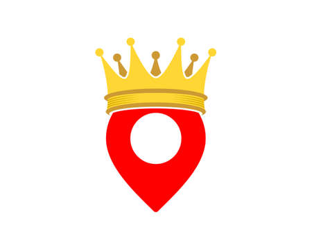 Pointer location with king crown logo Logo