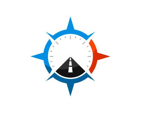 Modern compass with straight road inside Ilustración de vector