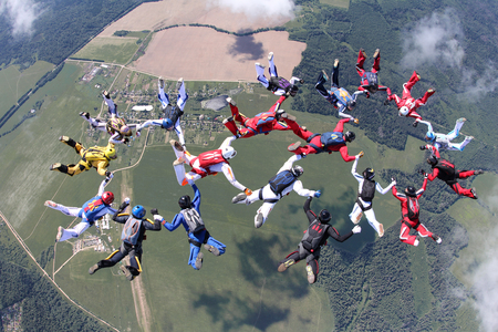Skydiving. Formation in the sky.