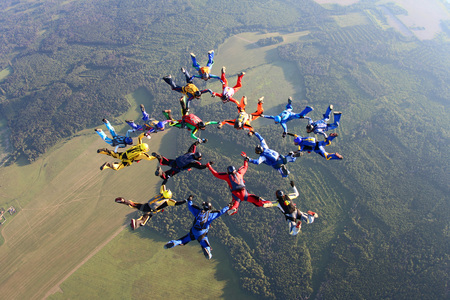 The big formation skydiving Stock Photo
