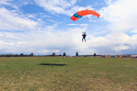 Skydiver is landing