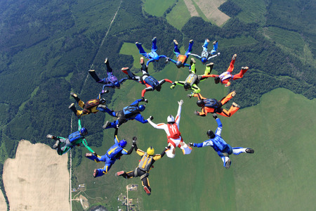 The big formation of skydivers