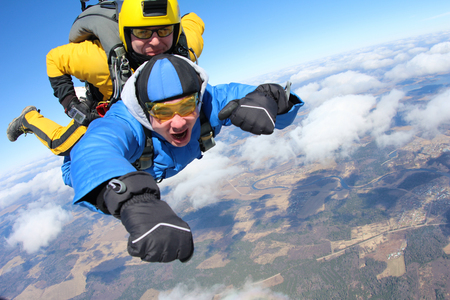 tandem jump Stock Photo