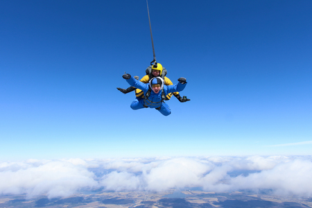 Skydiving Tandem Stock Photo