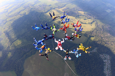 skydiving formation Stock Photo