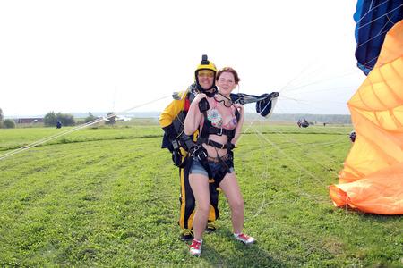 Skydiving. Tandem has just landed.