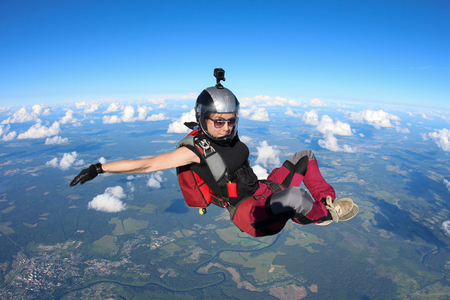 Girl is flying in the sky. Stock Photo