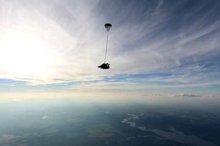 Skydiving. Tandem jump 免版税图像
