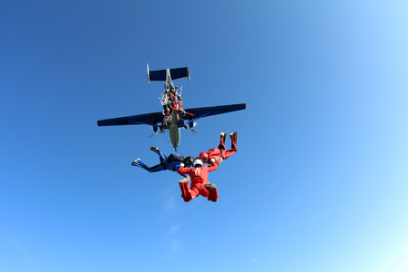 Formation skydiving. Skydivers are in the sky. 版權商用圖片