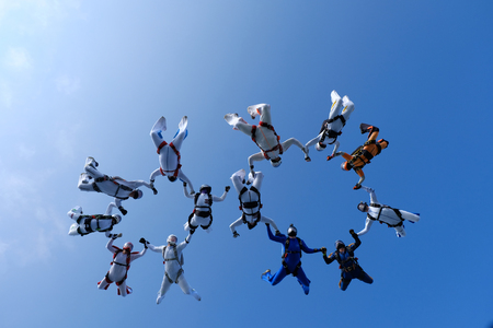 Skydiving. Group jumps.