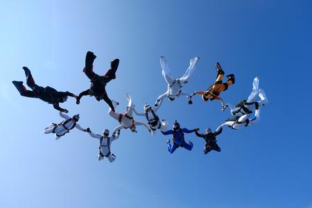 Skydiving. Group jumps. Stock fotó