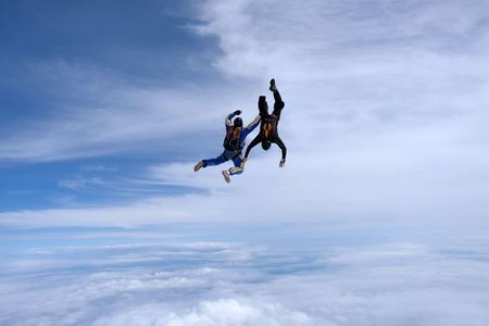 Two skydivers are falling into the sky.