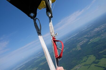 First-person view from a parachute.