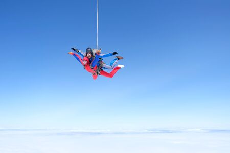 Skydiving. Amazing tandem jump in the sky.