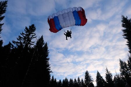 Skydiver lands at the wood.