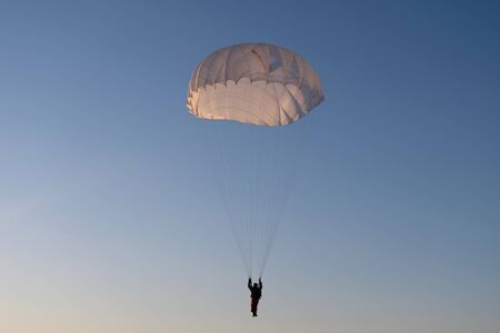 Paratrooper in the sky. Stock fotó