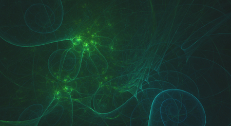 Glowing green smooth fractal spirals background