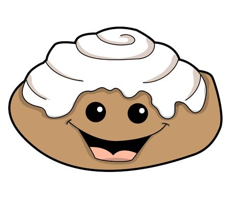 Broodje van de kaneel Stock Illustratie