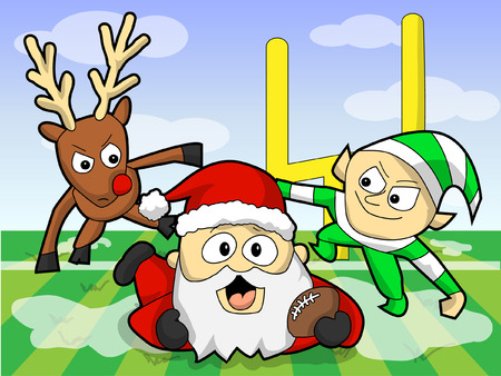 Holiday Football Rumble with Reindeer, Elf, and Santa