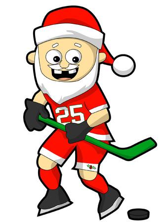 Santa playing hockey