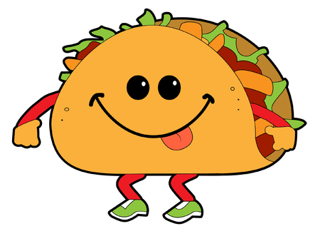 A cartoon walking taco