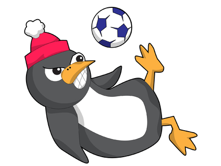 A Penguin Kicking a Soccer Ball