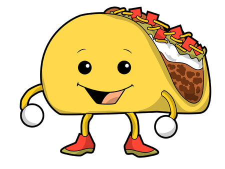 A Cartoon Walking Taco 일러스트