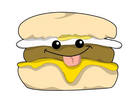 A Cartoon Breakfast Sandwich