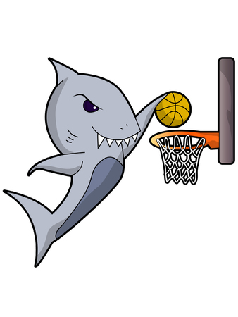 A Shark Dunking a Basketball 일러스트