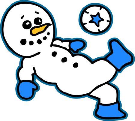 A Snowman Kicking a Soccer Ball Ilustração