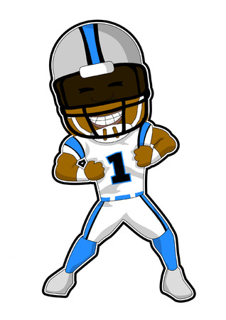 Football Player,dancing,  in cartoon illustration. 일러스트
