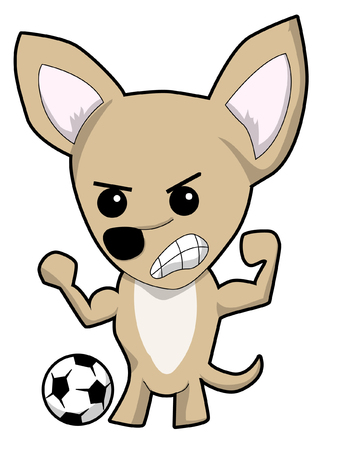 Chihauhau with soccer ball,  angry,  in cartoon illustration.