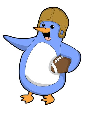 Football Penguin icon in white backdrop