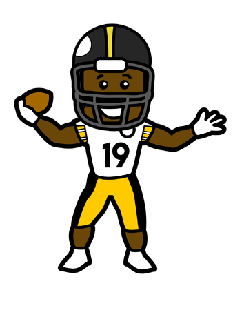 Male American football player number 19. Vector illustration.