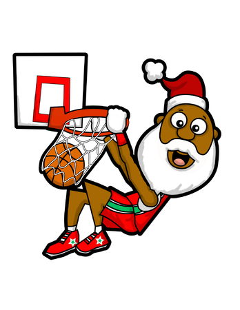 Santa dunk on the basketball ring. 일러스트