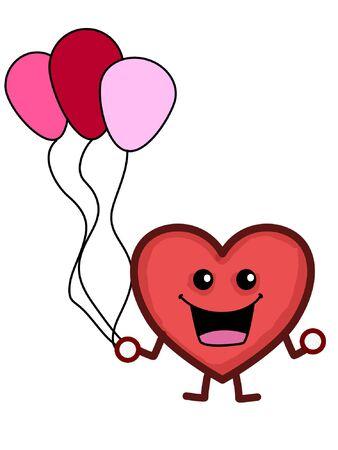 A Happy Heart holding balloons