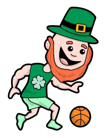Leprechaun playing basketball