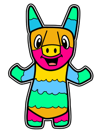 A Colorful Cartoon Pinata 일러스트