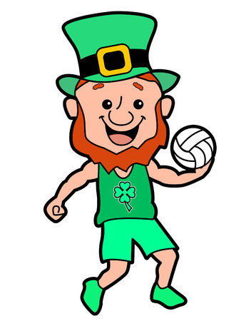 A Leprechaun Serving a Volleyball